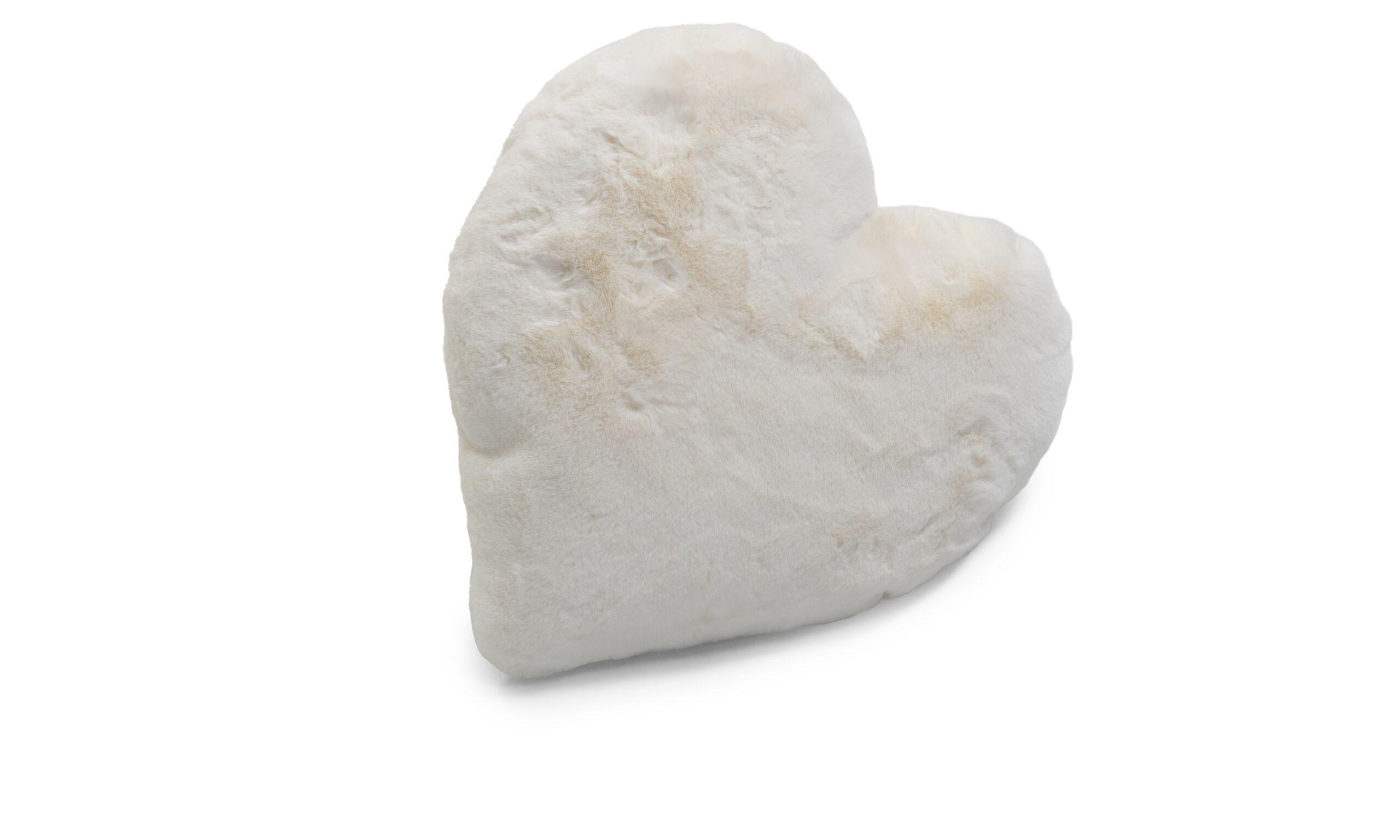 Fluffy heart ivory - kudde i konstmaterial