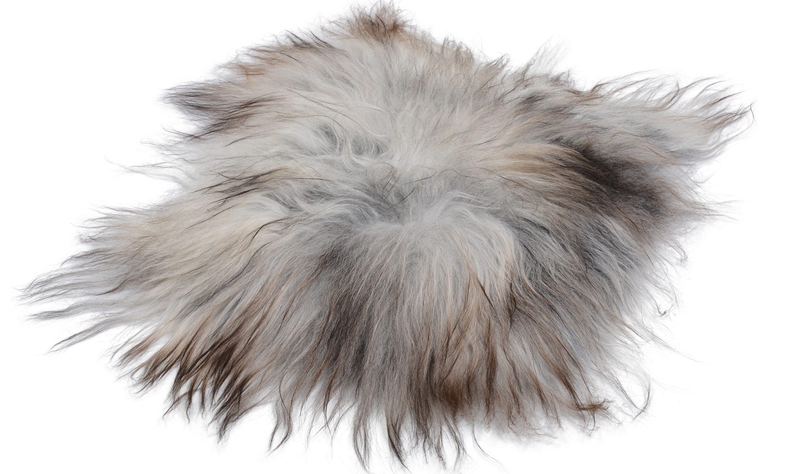 Molly natural grey PW - långhårig fyrkantig stolsdyna i fårskinn eko