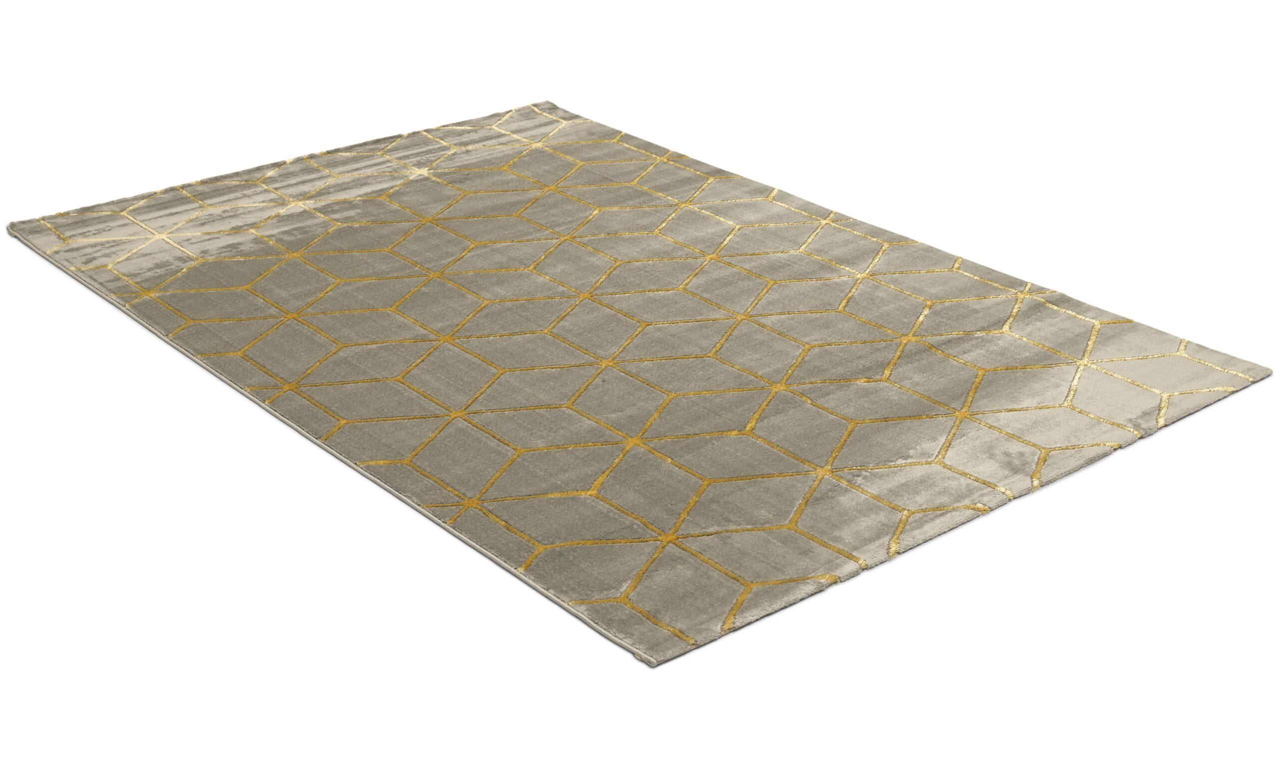 Diamond Cube antracit/guld - maskinvävd matta