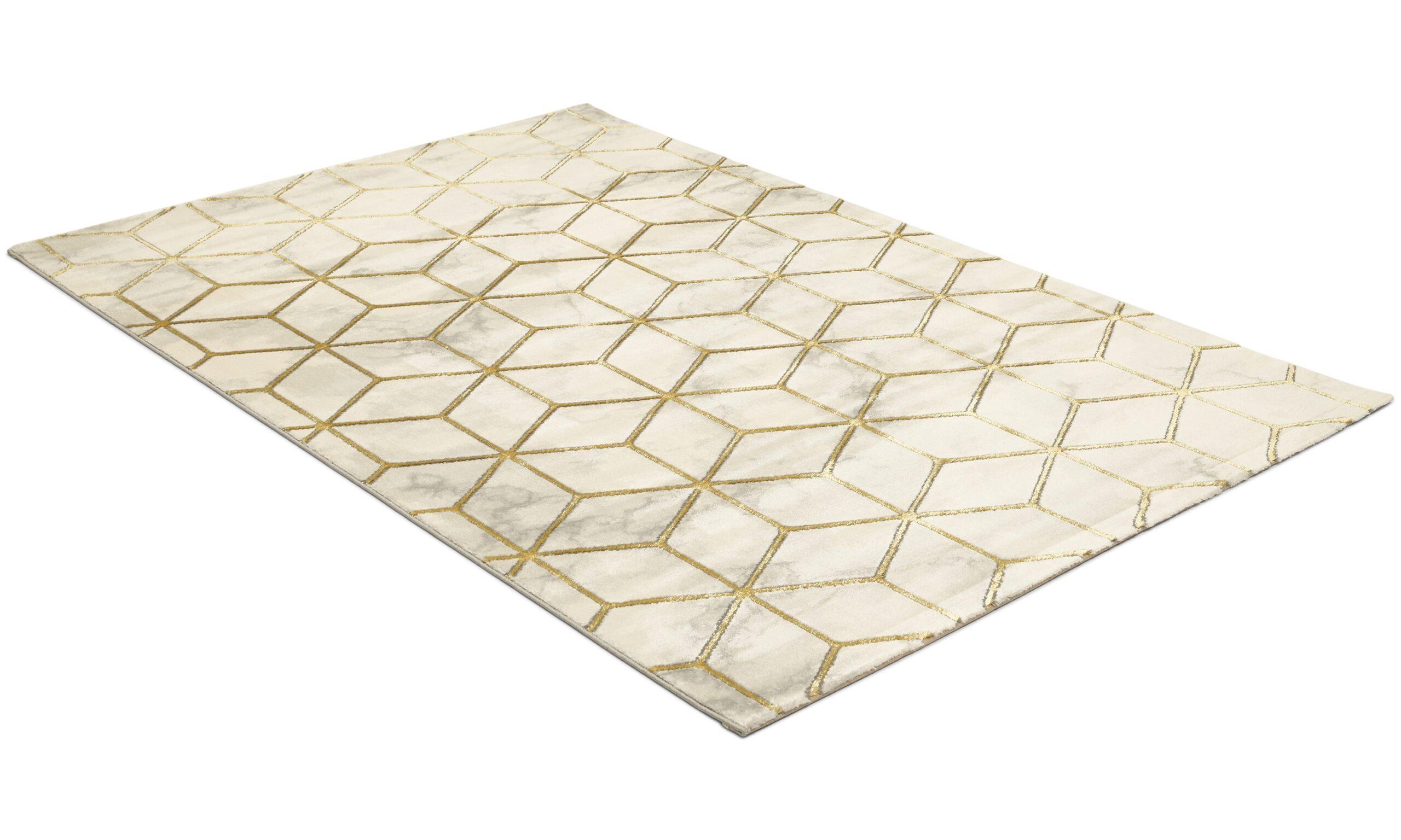 Diamond Cube guld - maskinvävd matta