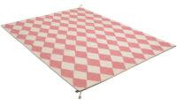 Harlequin rosa - handvävd ullmatta